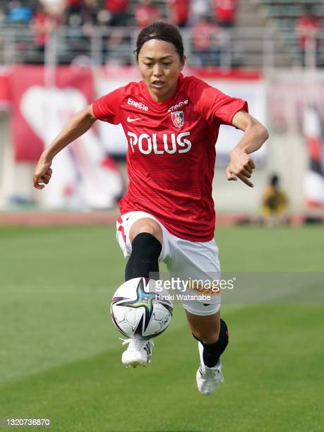 Kozue Ando of MHI Urawa Reds Ladies in action during the WE League preseason match between MHI Urawa Reds Ladies and Sanfrecce Hiroshima Regina at...