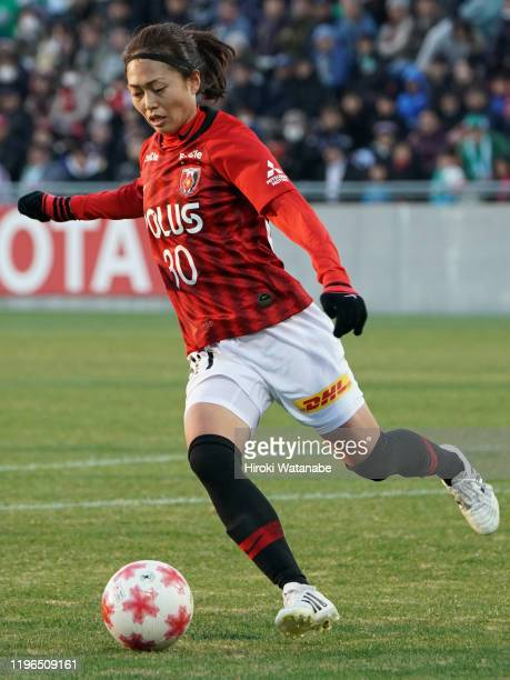 Kozue Ando of Urawa Red Diamonds Ladies in action during the Empress's Cup JFA 41st Japan Women's Football Championship final between Nippon TV...