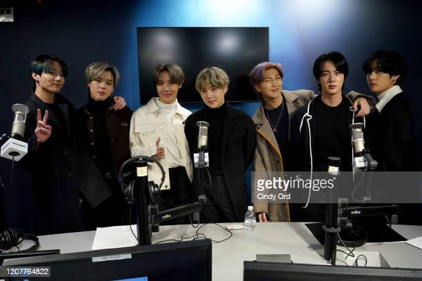 Pop boy band BTS visit the SiriusXM Studios on February 21, 2020 in New York City.