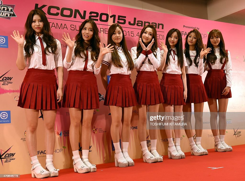 K-Pop group Lovelyz members pose during a press conference