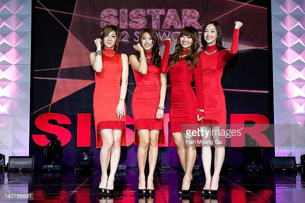 Pop idol girl group Soyou and Bora and Hyorin and Dasom of SISTAR poses for media during their 1st Mini Album [Alone] showcase at ilchi Art Hall on...