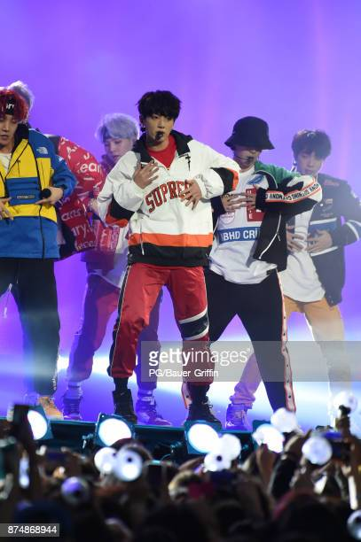 Kpop sensation BTS are seen at Jimmy Kimmel Live on November 15 2017 in Los Angeles California