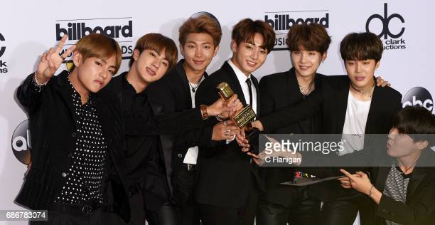 Pop sensation group BTS poses backstage in the press room the 2017 Billboard Music Awards at the TMobile Arena on May 21 2017 in Las Vegas Nevada