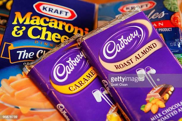 Kraft brand Macaroni Cheese and Cadbury chocolate are displayed January 19 2010 in Chicago Illinois The British chocolate giant Cadbury has agreed to...