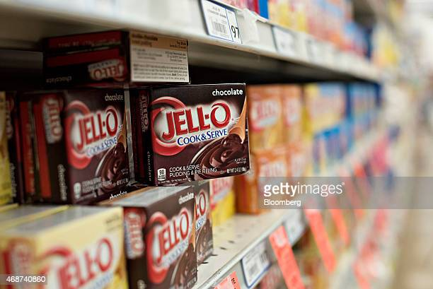 Kraft Foods Group Inc JellO brand pudding and pie filling are arranged for a photograph in Tiskilwa Illinois US on Wednesday April 1 2015 The looming...