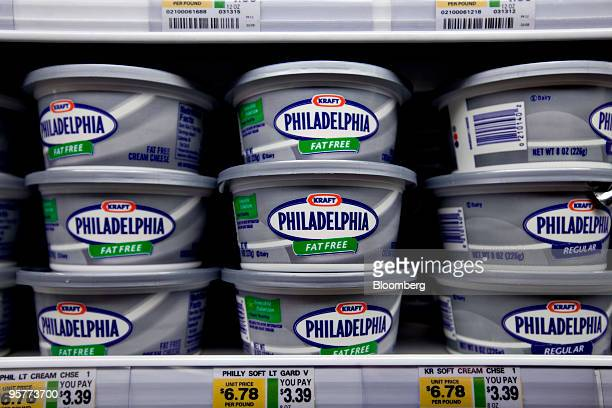 Kraft Foods Inc Philadelphia cream cheese sits on display in a supermarket in New York US on Thursday Jan 14 2010 Hershey Co authorized a bid for...