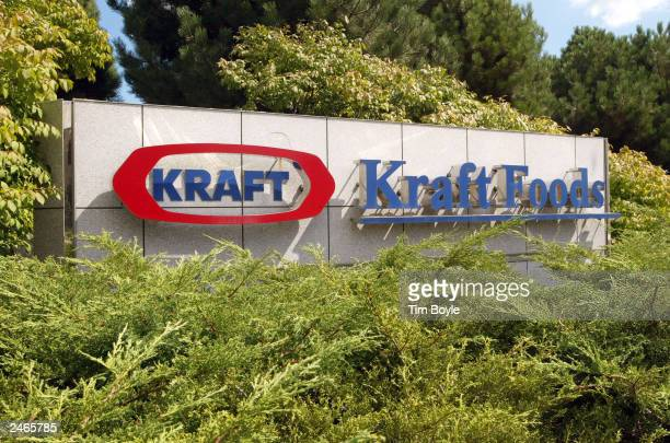 Kraft Foods sign is displayed near its corporate headquarters August 5 2003 in Northfield Illinois Northfield Illinoisbased Kraft Foods North America...