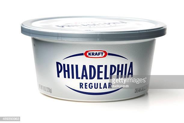 kraft philadelphia cream cheese spread regular - kraft foods stock photos and pictures