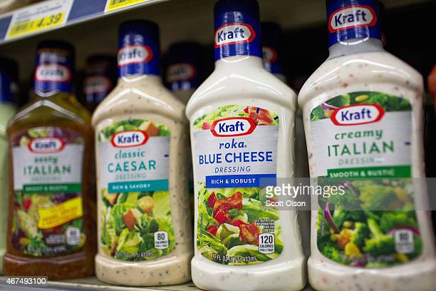 Kraft products are offered for sale at Armitage Produce on March 25 2015 in Chicago Illinois Kraft Foods Group Inc said it will merge with HJ Heinz...