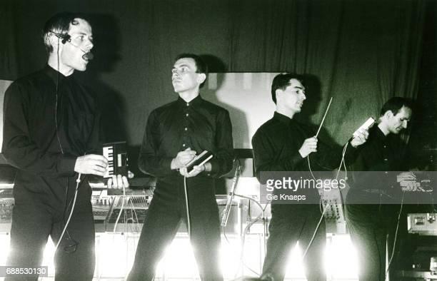 Kraftwerk, Ancienne Belgique, Brussels, ; Ralf Hutter, Karl Bartos, Wolfgang Flur, Florian Schneider.