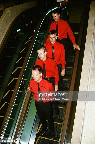 Kraftwerk getting off the elevator in Keio Plaza Hotel Tokyo September 1981