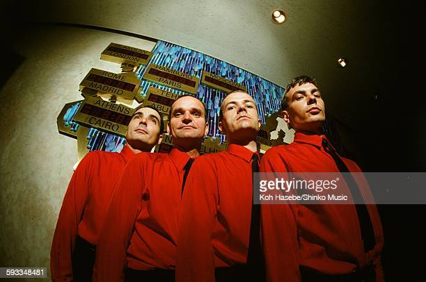 Kraftwerk in front of world time clock in Keio Plaza Hotel Tokyo September 1981