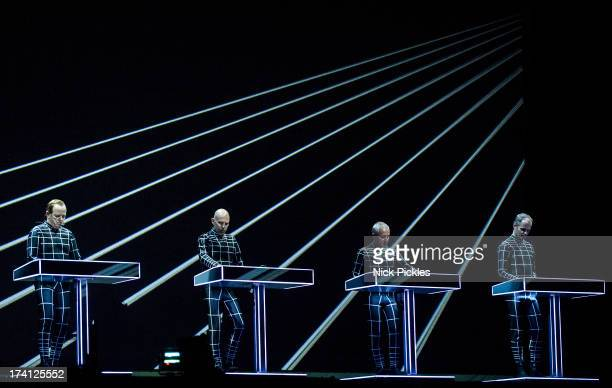 Kraftwerk perform at Day 3 of the Latitude Festival at Henham Park Estate on July 20 2013 in Southwold England