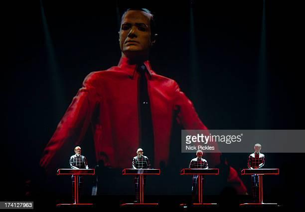 Kraftwerk perform at Day 3 of the Latitude Festival at Henham Park Estate on July 20 2013 in Southwold England