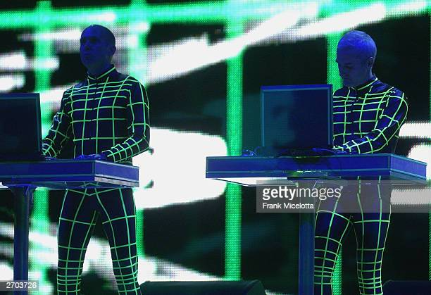 Kraftwerk rehearse on stage during the 2003 MTV Europe Music Awards at Ocean Terminal on November 6 2003 in Edinburgh Scotland