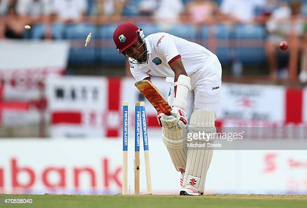 Kraigg Braithwaite of West Indies is bowled by James Anderson of England during day one of the 2nd Test match between West Indies and England at the...