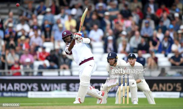 Kraigg Brathwaite of England bats during day two of the 2nd Investec Test between England and the West Indies at Headingley on August 26 2017 in...