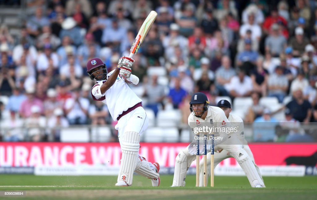 Kraigg Brathwaite of England hits out for six runs to reach his century during day two of the 2nd Investec Test between England and the West Indies at Headingley on August 26, 2017 in Leeds, England.