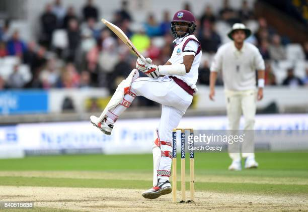 Kraigg Brathwaite of the West Indies bats during day five of the 2nd Investec Test between England and the West Indies at Headingley on August 29...