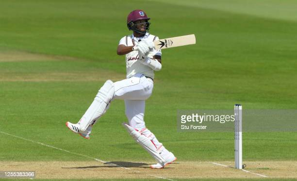 Kraigg Brathwaite of the West Indies hooks the ball during Day Three of the 1st #RaiseTheBat Test Series between England and The West Indies at The...