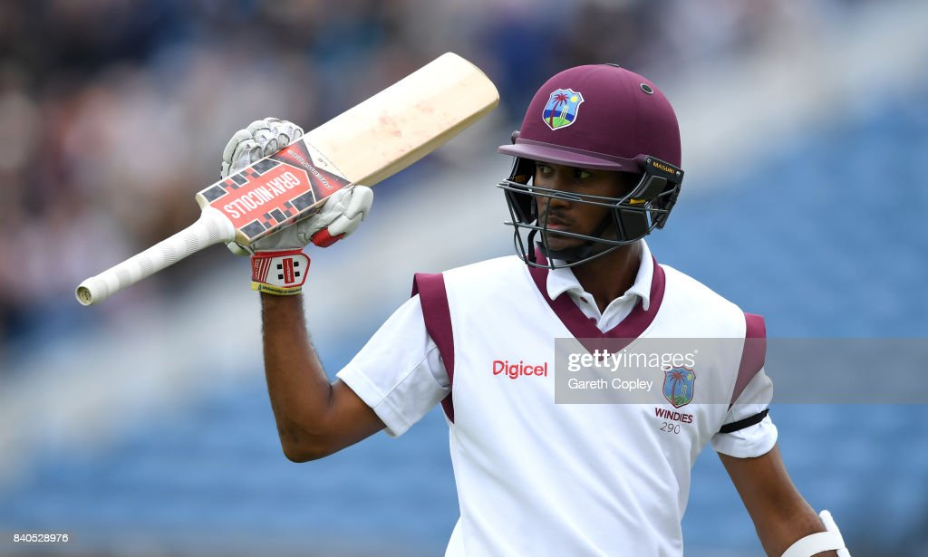Kraigg Brathwaite of the West Indies salutes the crowd as he leaves the field after being dismissed by Moeen Ali of England during day five of the 2nd Investec Test between England and the West Indies at Headingley on August 29, 2017 in Leeds, England.