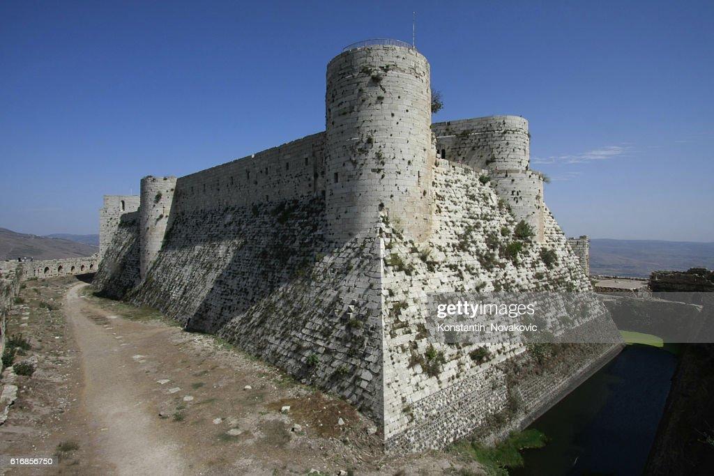 Krak des Chevaliers castle, Syria : Stock Photo