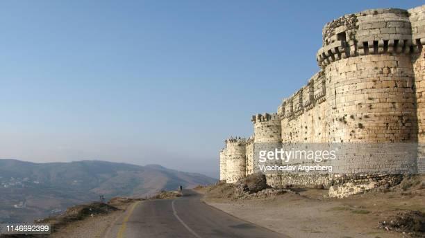 krak des chevaliers medieval crusader castle, syria - argenberg - fotografias e filmes do acervo