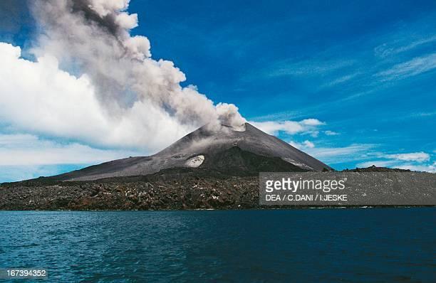 Krakatau volcano erupting Java island Indonesia