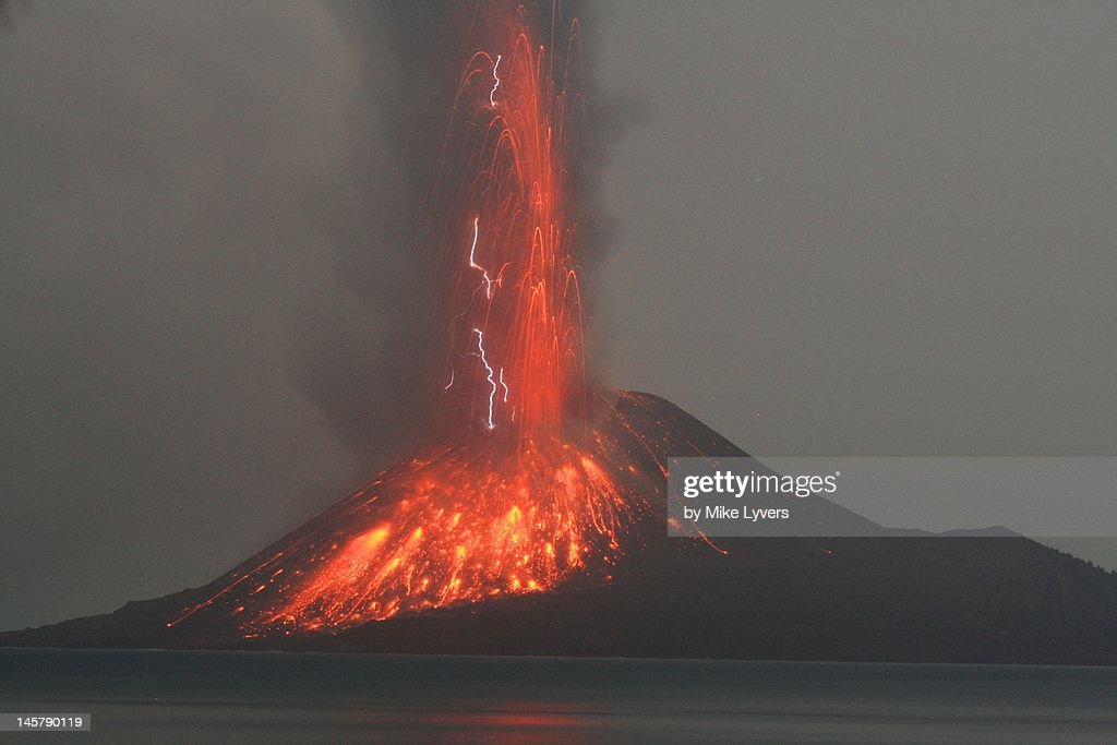 Krakatoa Volcano Erupts : Stock Photo