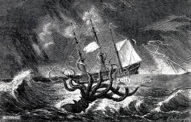 Kraken Attacking a Sailing Vessel During a Storm 1870 Private Collection