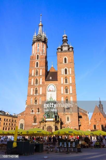 krakow, basilica of st, mary - dafos stock photos and pictures
