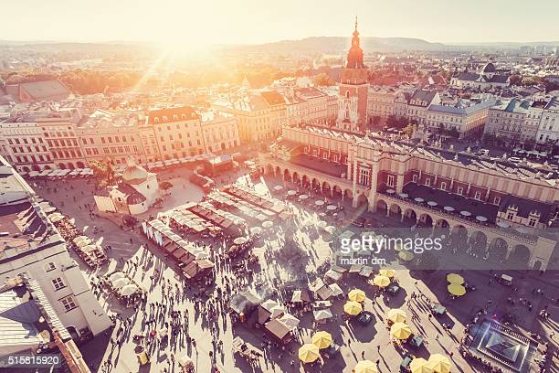 krakow from above - poland stock pictures, royalty-free photos & images