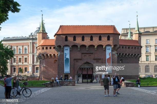 kraków barbican - gwengoat stock pictures, royalty-free photos & images