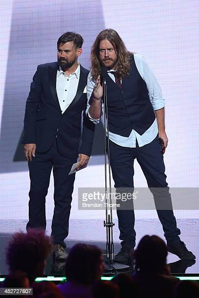 Kram from Spiderbait and Phil Jameson from Grinspoon present during the 27th Annual ARIA Awards 2013 at the Star on December 1 2013 in Sydney...