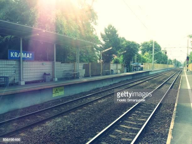 kramat train station in jakarta, indonesia - 鉄道のプラットホーム ストックフォトと画像