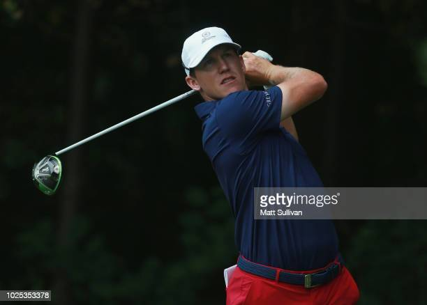 Kramer Hickok watches his tee shot on the ninth hole during the first round of the DAP Championship at Canterbury Golf Club on August 30 2018 in...