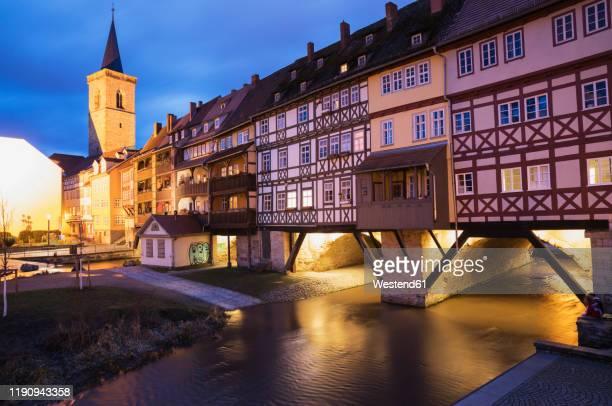 kramerbrucke over gera river in city at dusk, erfurt, germany - erfurt stock pictures, royalty-free photos & images