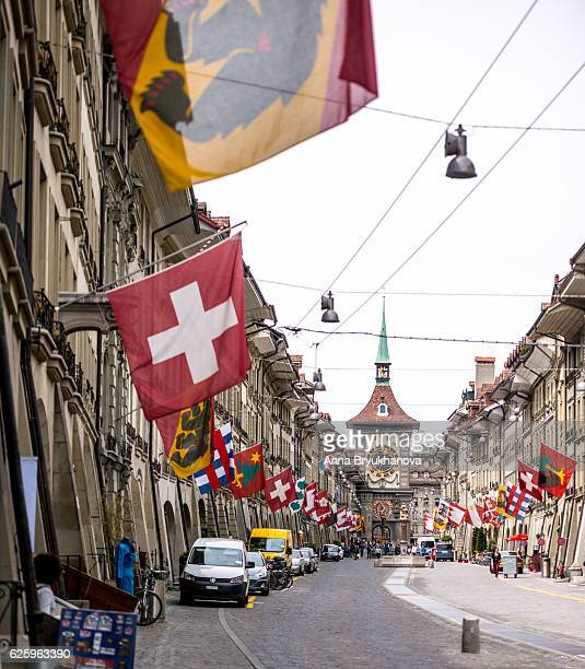kramgasse and zytglogge, bern city center - bern stock pictures, royalty-free photos & images