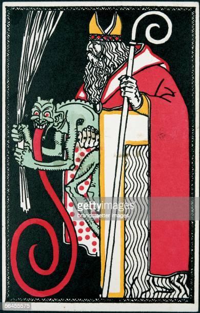 Krampus and Santa Claus Felicitation Card Postcard by the Viennese Werkstaette Number 541 Colour Lithography 14 9 cm Around 1911 [Krampus und...