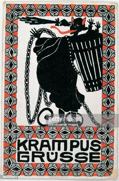 Krampus Greetings Felicitation Card Postcard by the Viennese Werkstaette Number 188 Colour Lithography around 1908 [Krampus Gruesse Wunschkarte...