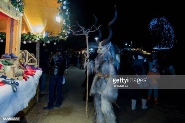 Krampus Parade Christmas Market Habsburg Park Levico Terme Valsugana Trentino Alto Adige Italy Europe