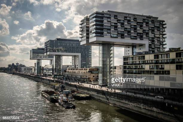 kranhäuser (crane houses) at rheinauhafen, river rhine, cologne, germany - cologne stock pictures, royalty-free photos & images