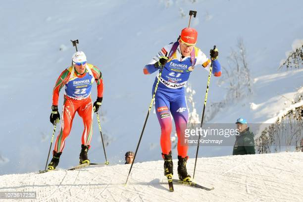 Krasimir Anev of Bulgaria and Martin Otcenas of Slovenia during the Men 125 km Pursuit Competition at Biathlon Stadium Hochfilzen on December 15 2018...