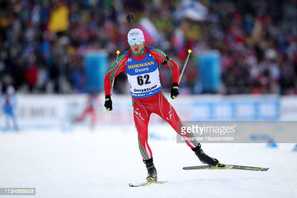 Krasimir Anev of Bulgaria competes at the IBU Biathlon World Championships Men 10km Sprint at Swedish National Biathlon Arena on March 09 2019 in...