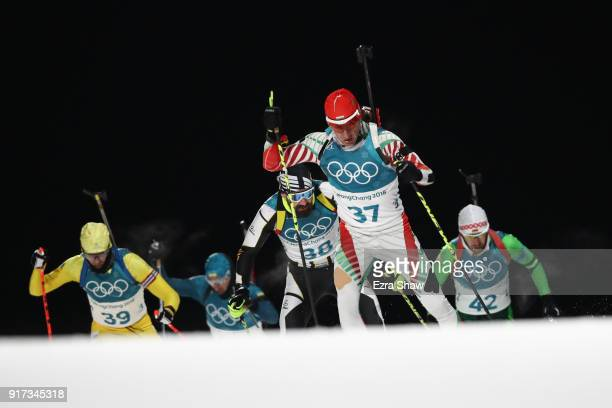 Krasimir Anev of Bulgaria competes during the Men's Biathlon 125km Pursuit on day three of the PyeongChang 2018 Winter Olympic Games at Alpensia...