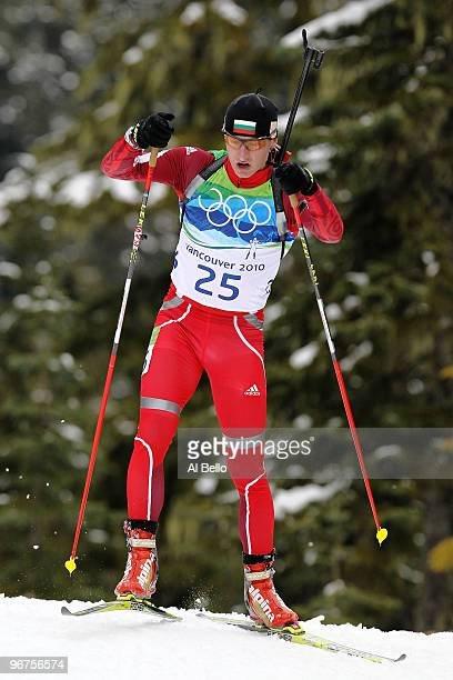 Krasimir Anev of Bulgaria competes during the Men's Biathlon 125km Pursuit on day 5 of the 2010 Vancouver Winter Olympics at Whistler Olympic Park...