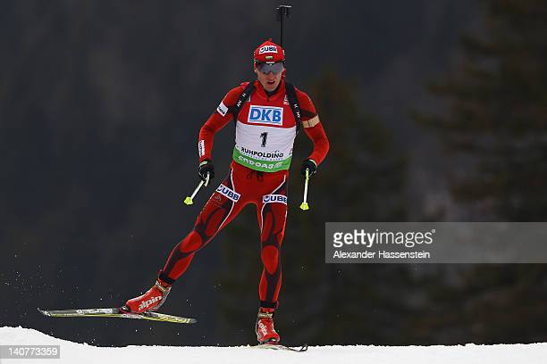 Krasimir Anev of Bulgaria competes in the Men's 20km Individual during the IBU Biathlon World Championships at Chiemgau Arena on March 6 2012 in...