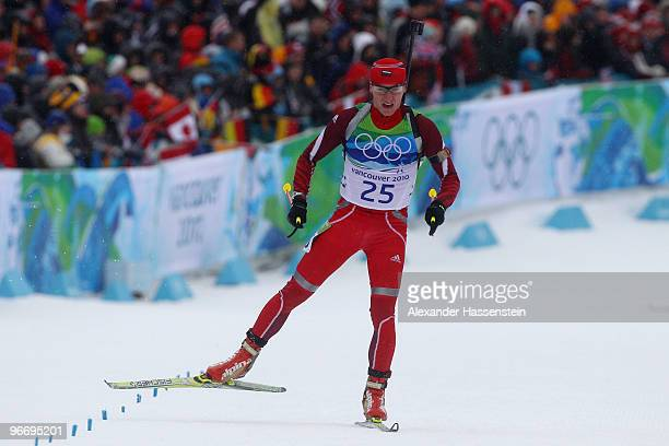 Krasimir Anev of Bulgaria competes in the men's biathlon 10 km sprint final on day 3 of the 2010 Winter Olympics at Whistler Olympic Park Biathlon...