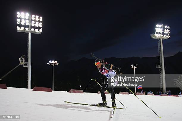 Krasimir Anev of Bulgaria competes in the Men's Sprint 10 km during day one of the Sochi 2014 Winter Olympics at Laura Crosscountry Ski Biathlon...