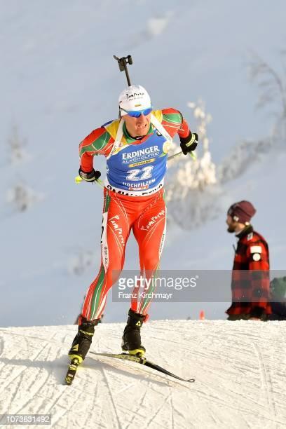 Krasimir Anev of Bulgaria during the Men 125 km Pursuit Competition at Biathlon Stadium Hochfilzen on December 15 2018 in Hochfizen Austria